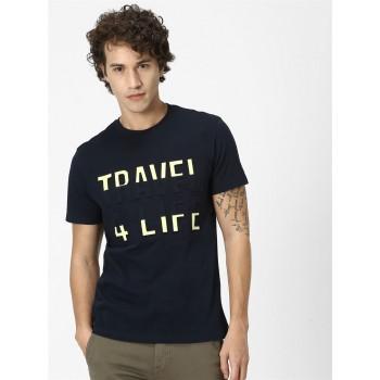 CELIO Men's Graphic Embossed Regular Fit Casual Wear T-Shirt