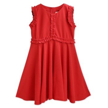 Cherry Crumble California Girls Casual Wear Red Fit & Flare Dress
