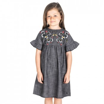 Cherry Crumble California Casual Wear Embroidered Dress