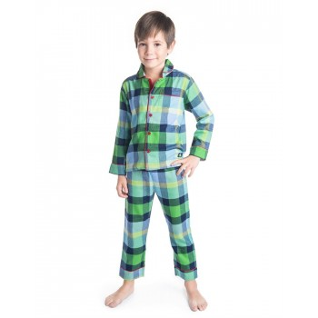 Cherry Crumble California Boys Green Checkered Nightsuit