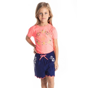 Cherry Crumble California Girls Blue Embroidered Short