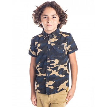 Cherry Crumble California Boys Casual Wear Military Camouflage Shirt