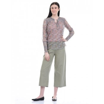 Cover Story Women Casual Wear Light Green Flared Trouser