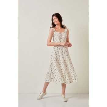 Cover Story Women Casual Wear Off White Dress