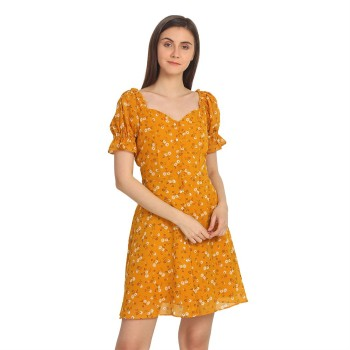 Cover Story Women's Regular Fit Casual Wear Pouf Dress