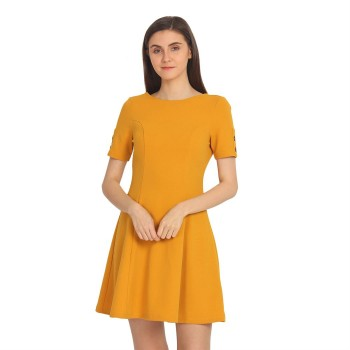 Cover Story Women's Regular Fit Casual Wear Flared Dress
