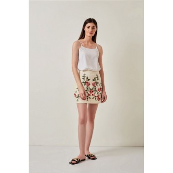 Cover Story Women Casual Wear Off White Skirt