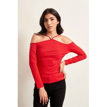 Cover Story Women Casual Wear Red Top