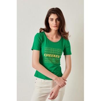 Cover Story Women Casual Wear Green T-shirt