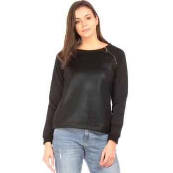 Elle Women Casual Wear Black Sweatshirt