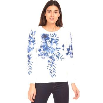 Elle Women Casual Wear White Sweatshirt