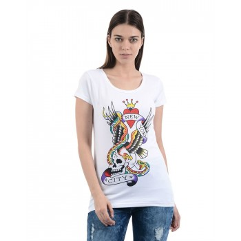 Ed Hardy Women Casual Wear Printed T-Shirt