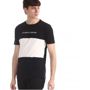 Ed Hardy Men Casual Wear Color Block T-Shirt