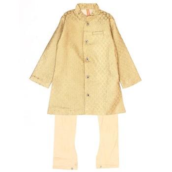 Ethnicity Boys Festive Wear Golden Kurta and Pyjama