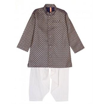 Ethnicity Boys Ethnic Wear Navy Blue Kurta and Pyjama