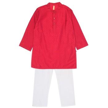 Ethnicity Boys Festive Wear Red Kurta and Pyjama