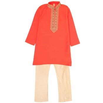 Ethnicity Boys Festive Wear Orange Kurta and Pyjama