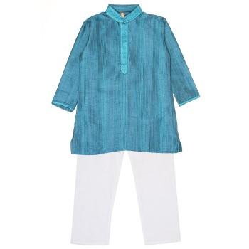 Ethnicity Boys Festive Wear Blue Kurta and Pyjama