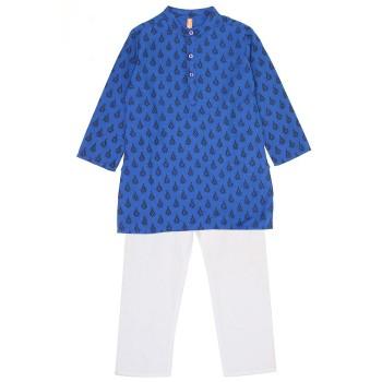 Ethnicity Boys Festive Wear Royal Blue Kurta and Pyjama
