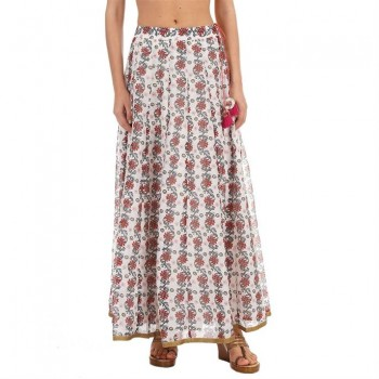 Ethnicity Women Printed White Flared Skirt