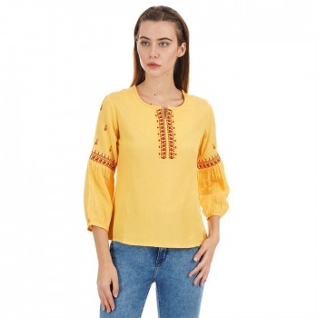 Ethnicity Casual Wear Embroidered Women Top