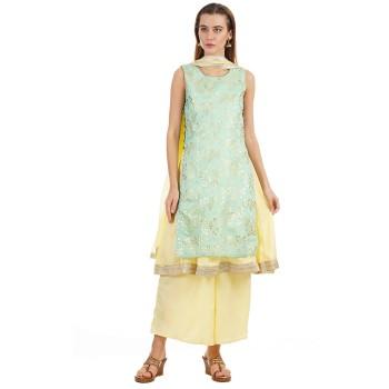 Ethnicity Women Festive Wear Green Layered Kurta And Palazzo With Dupatta