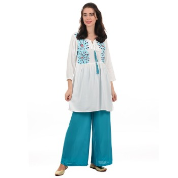 Ethnicity Women White Flared Kurti