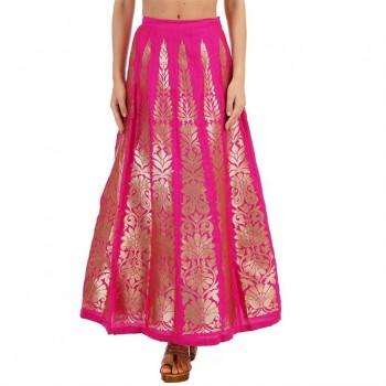 Ethnicity Women Block Print Pink Flared Skirt