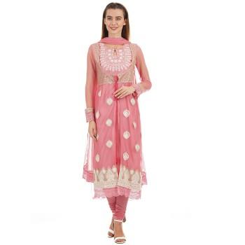 Ethnicity Women Ethnic Wear Pink Layered Kurta with Churidar Salwar and Dupatta