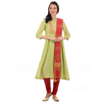 Ethnicity Women Green Flared Kurta With Churidaar Payjama And Dupatta