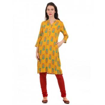 Ethnicity Women Yellow Straight Kurta