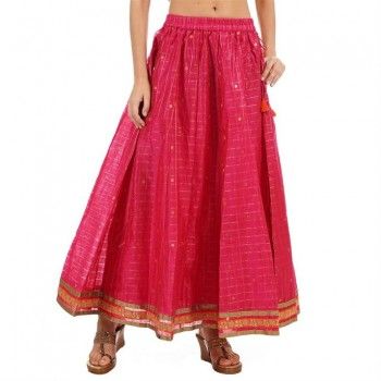 Ethnicity Women Self Design Pink Flared Skirt