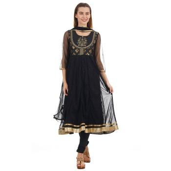 Ethnicity Women Ethnic Wear Black Flared Kurta with Churidar salwar and Dupatta