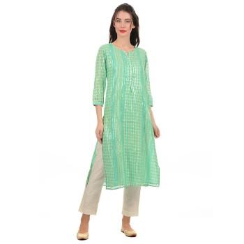 Ethnicity Women Green Straight Kurta