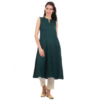 Ethnicity Women Dark Green A Line Kurta