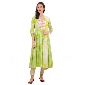 Ethnicity Women Green Flared Kurta With Dupatta