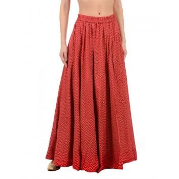Ethnicity Women Red Flared Skirt