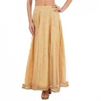 Ethnicity Women Embellished Beige Flared Skirt