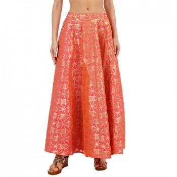 Ethnicity Women Printed Peach Flared Skirt