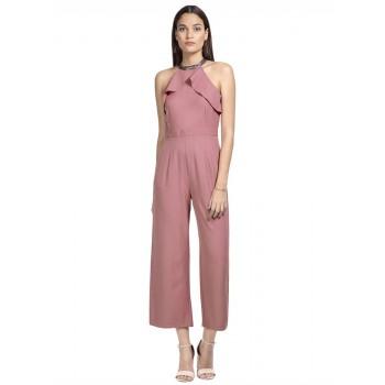 Faballey Women Casual Wear Pink Jumpsuit
