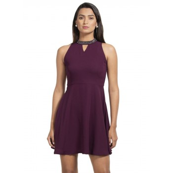 Faballey Women Casual Wear Purple Dress
