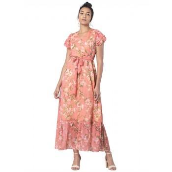 Faballey Women Casual Wear Orange Dress