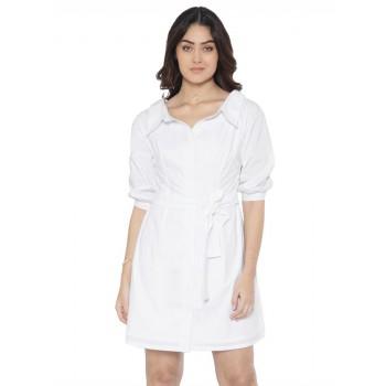 Faballey Women Casual Wear White Dress