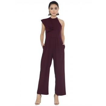 Faballey Women Casual Wear Maroon Jumpsuit