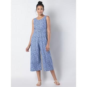 Faballey Women Casual Wear Blue Belted Jumpsuit