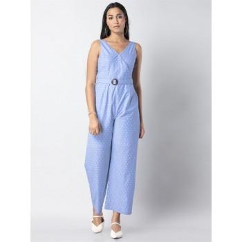 Faballey Women Casual Wear Blue Jumpsuit