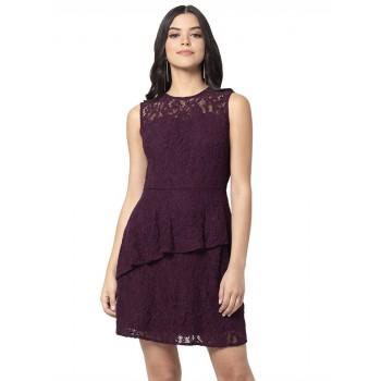 Faballey Women Casual Wear Maroon Dress