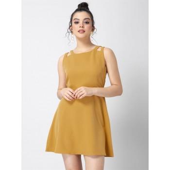 Faballey Women Party Wear Yellow Skater Dress