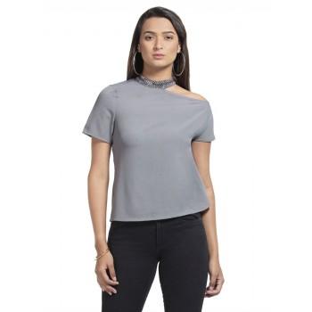 Faballey Women Casual Wear Grey Top