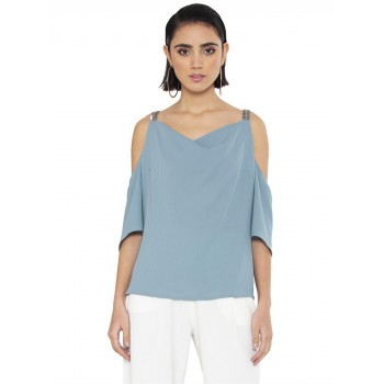 Faballey Women Casual Wear Blue Top